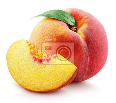 Naklejka Ripe whole peach fruit with green leaf and slice isolated on white background with clipping path. Full depth of field.