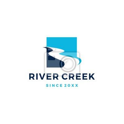 Naklejka river creek logo vector icon illustration