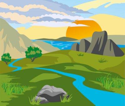 Naklejka River valley at sunset