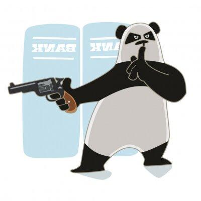 Naklejka Robber Panda holding a gun