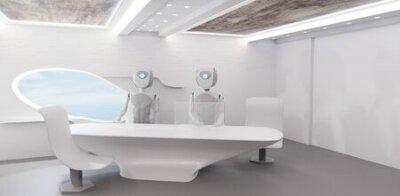 Naklejka robot artificial intelligence in modern room on big table 3d-illustration
