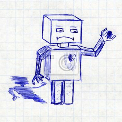 Robot Z Złamanego Serca Rysunek Dzieci W Szkolnym Zeszycie Naklejki Redro
