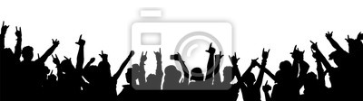 Naklejka Rock music concert crowd silhouette isolated on white background