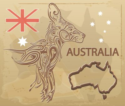 Naklejka rocznik kangura, projektowanie Australia druku