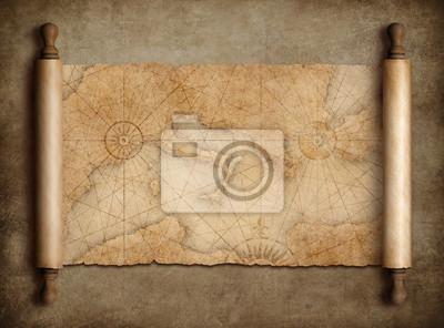Naklejka Rocznik średniowieczna śródziemnomorska mapa przewiń na stole