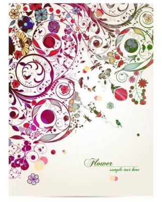 Naklejka rocznika kwiat