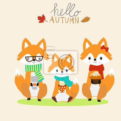 Naklejka Rodzina Fox z filiżanką ciepłego mleka, kawa, ciasto jesienią season.illustration EPS 10.