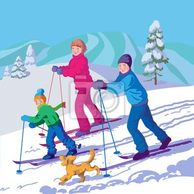 Rodzina jest na nartach w górach