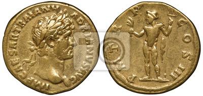 Naklejka Roman Empire golden coin aureus 119-122 AD, laureate head of Emperor Trajan right, standing Neptune holding acrostolium and trident,