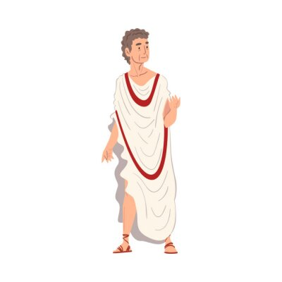 Naklejka Roman Philosopher in Traditional Clothes, Ancient Rome Citizen Character in White Tunic And Sandals Vector Illustration