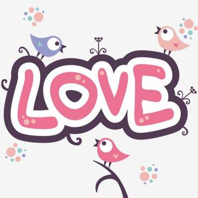 Naklejka Romantyczny ilustracji z ślicznych małych ptaków