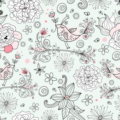 Naklejka romantyczny kwiatowy wzór w miłości z pięknymi ptakami