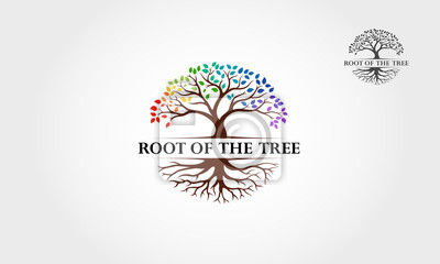 Naklejka Root Of The Tree Rainbow - vector logo illustration. This logo symbolize a protection, peace,tranquility, growth, and care or concern to development.