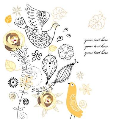 Naklejka Rośliny i ptaki
