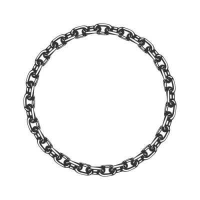 Naklejka Round chain frame. Flat design. Vector illustration.