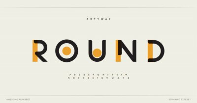 Naklejka Round modern alphabet. Dropped stunning font, type for futuristic logo, headline, creative lettering and maxi typography. Minimal style letters with yellow spot. Vector typographic design