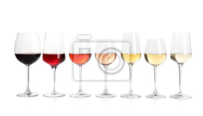 Naklejka Row of glasses with different wines on white background