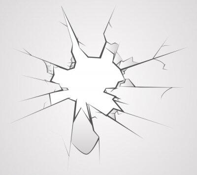 Naklejka Rozbita szklana dziura pęka transperent tle ilustracji wektorowych