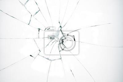 Naklejka Rozbite szkło na białym tle