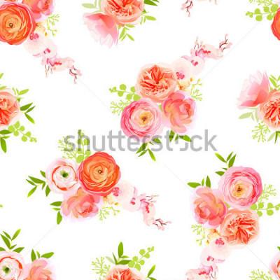 Naklejka Róże brzoskwiniowe, Jaskier i egzotycznych ziół bukiety włączone wektor wydruku
