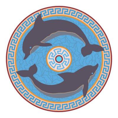 Naklejka Rozeta z dwóch delfinów. Styl minojskiej.