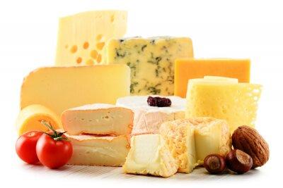 Naklejka Różne rodzaje sera na białym tle