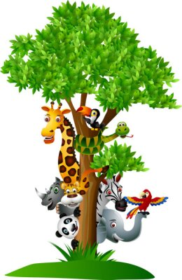 Naklejka różne śmieszne zwierzęta safari kreskówek schować się za drzewem