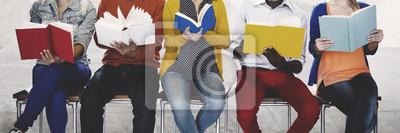 Naklejka Różnorodność Ludzi Reading Book Inspiracja Concept