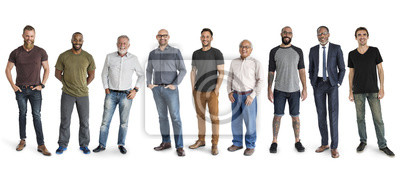 Naklejka Różnorodność mężczyzna Ustawiają gesta Stoi Wpólnie studio Odizolowywającego