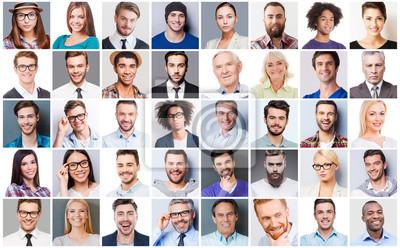 Naklejka Różnych ludzi. Kolaż z różnych wieloetnicznych i mieszanych osób w wieku wyrażających różne emocje