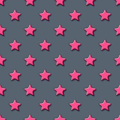 Naklejka Różowe gwiazdy scribble szkicu wzór tła.