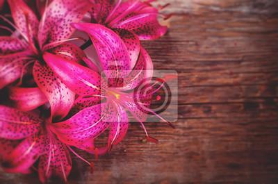 Naklejka różowe kwiaty lilia