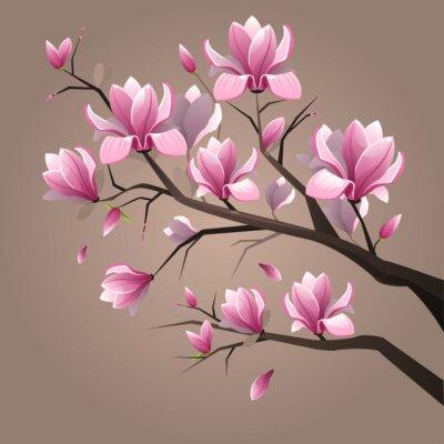 Naklejka Różowe kwiaty magnolii