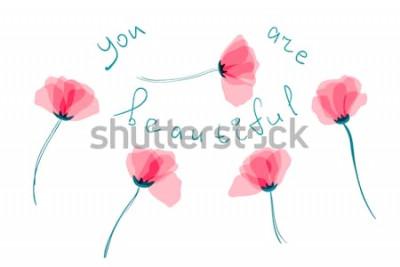 Naklejka Różowe kwiaty maku do projektowania to pocztówka. Płatki kwiatów z rozmnażać. EPS 10. Obiekt z przezroczystym