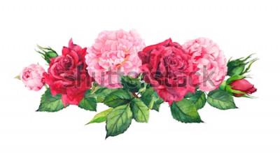Naklejka Różowe kwiaty piwonii i czerwone róże. Akwarela