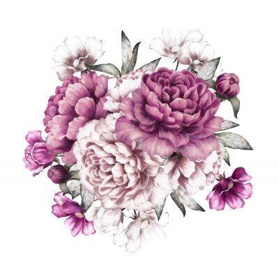 Naklejka różowe piwonie. kwiaty akwarela. kwiatowy w kolorach pastelowych. bukiet kwiatów samodzielnie na białym tle. Liści i pąków. Romantyczna kompozycja do ślubu lub kartkę z życzeniami