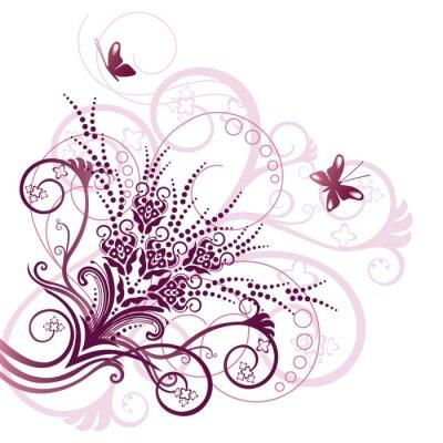 Naklejka Różowy kwiatowy element projektu rogu