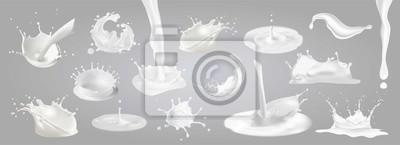 Naklejka Rozpryski mleka, krople i plamami.