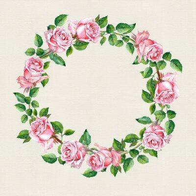 Naklejka Róży kwiat wieniec. Okrąg kwiatu obramowania na papierze tekstur. kolor wody