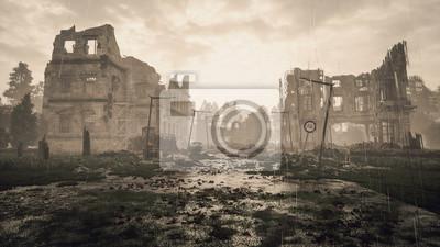 Naklejka Ruins of a city. Apocalyptic landscape