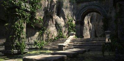 Naklejka Ruins of the sacred temple with green vegetation. Beautiful natural wallpaper. 3D illustration.