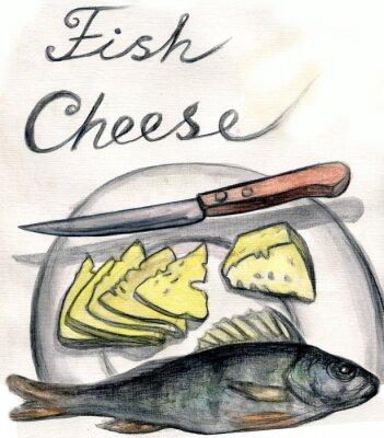 Naklejka Ryby i sery. akwarela