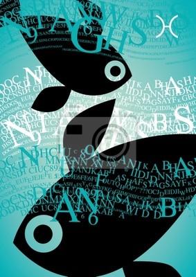 Naklejka ryby znak zodiaku