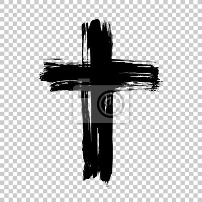 Naklejka Rysowane ręcznie krzyżyk. Grunge krzyż. Krzyż wykonany z pociągnięciem pędzla