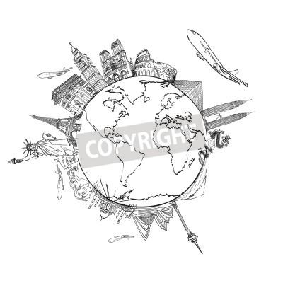 Naklejka Rysowanie podróży marzeń dookoła świata w tablicy