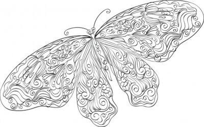 Naklejka Rysunek kwiatowy Ręcznie butterfly
