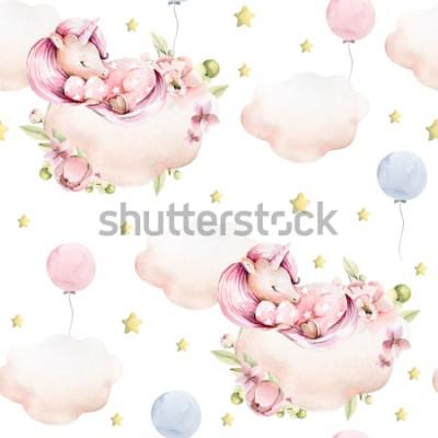 Naklejka Rysunek odręczny akwarela wzór dziecięcy - śliczny śpiący jednorożec, chmury z różowymi kwiatami piwonii, liście, żółte gwiazdki, balony. Idealne do druku, tekstyliów, scrapbookingu.