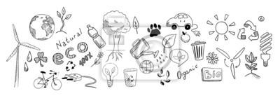 Naklejka Rysunek wektor zestaw eko