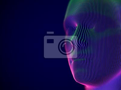 Naklejka Rzeczywistość wirtualna lub koncepcja cyberprzestrzeni: model męskiej twarzy. Cyfrowa głowa człowieka lub robota - abstrakcyjna wizualizacja sztucznej inteligencji i przyszłych technologii. EPS 10, il