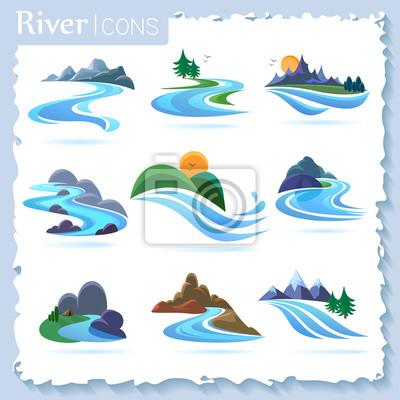 Naklejka Rzeka i krajobrazowe ikony